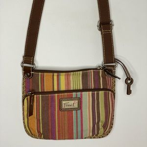 Fossil Crossbody MultiColor Stripped Messenger Bag